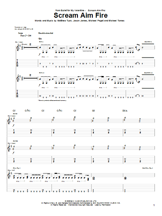 Tablature guitare Scream Aim Fire de Bullet For My Valentine - Tablature Guitare