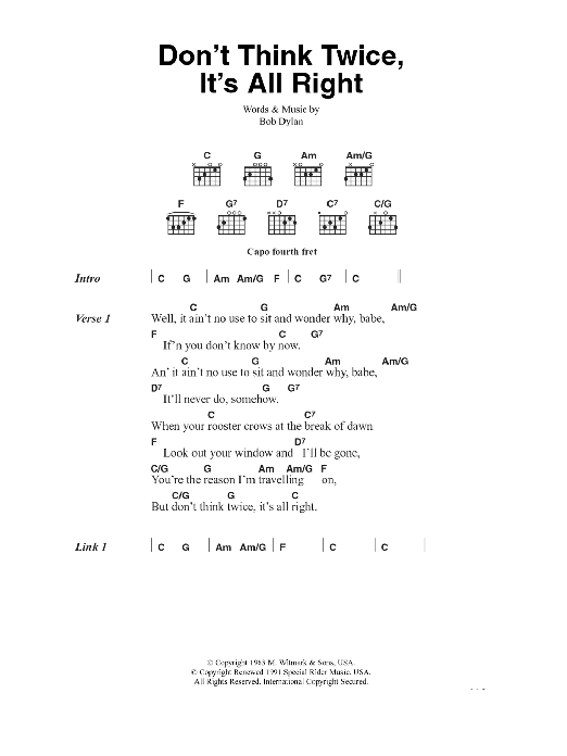 Don\'t Think Twice, It\'s All Right by Bob Dylan - Guitar Chords ...