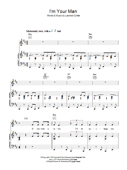 I'm Your Man (Piano, Vocal & Guitar)
