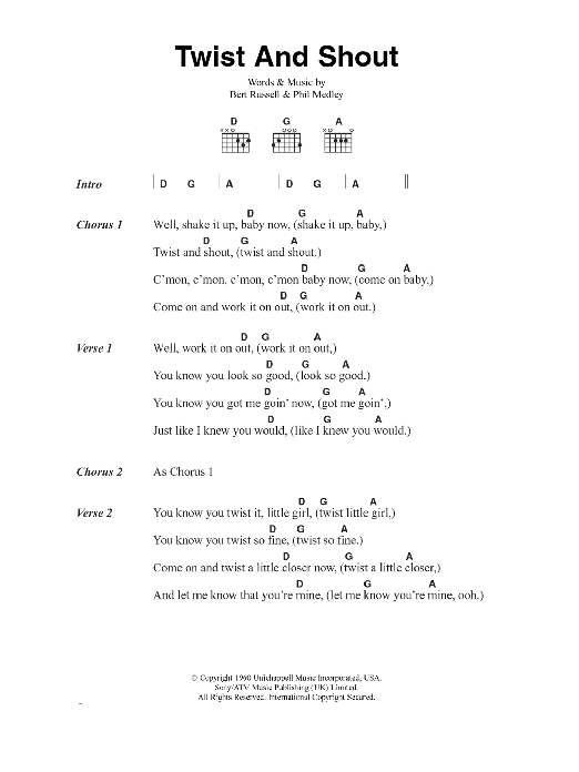 Twist And Shout by The Beatles - Guitar Chords/Lyrics - Guitar ...