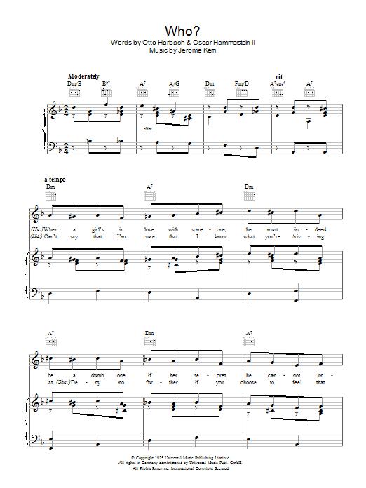 Who? (Piano, Vocal & Guitar)