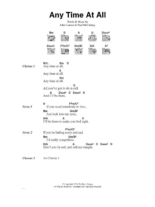 Any Time At All (Guitar Chords/Lyrics)