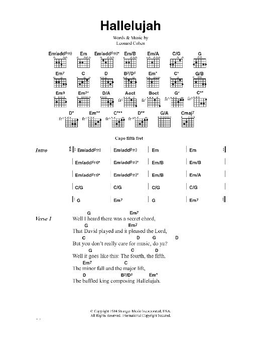 Hallelujah by Jeff Buckley - Guitar Chords/Lyrics - Guitar Instructor