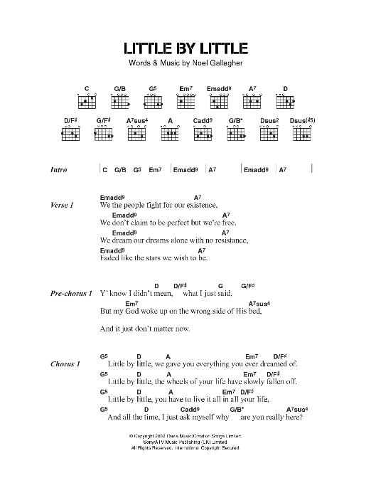Little By Little Sheet Music Oasis Lyrics Chords