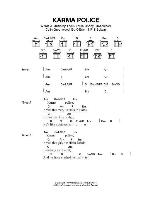 Karma Police by Radiohead - Guitar Chords/Lyrics - Guitar Instructor