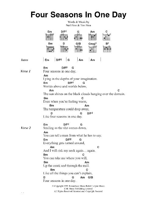 Four Seasons In One Day (Guitar Chords/Lyrics)