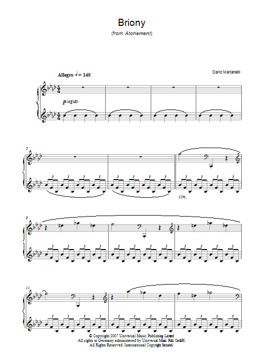 Briony (from Atonement) Sheet Music