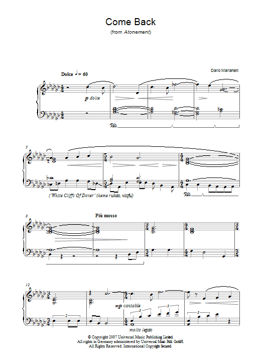 Come Back (from Atonement) Sheet Music
