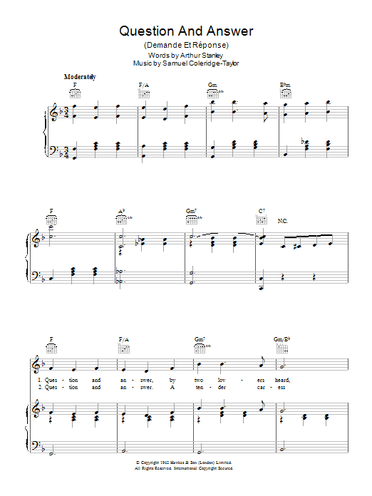 Question And Answer (Demande Et Reponse) (Piano, Vocal & Guitar)