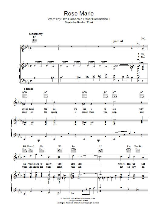 Rose Marie (Piano, Vocal & Guitar)