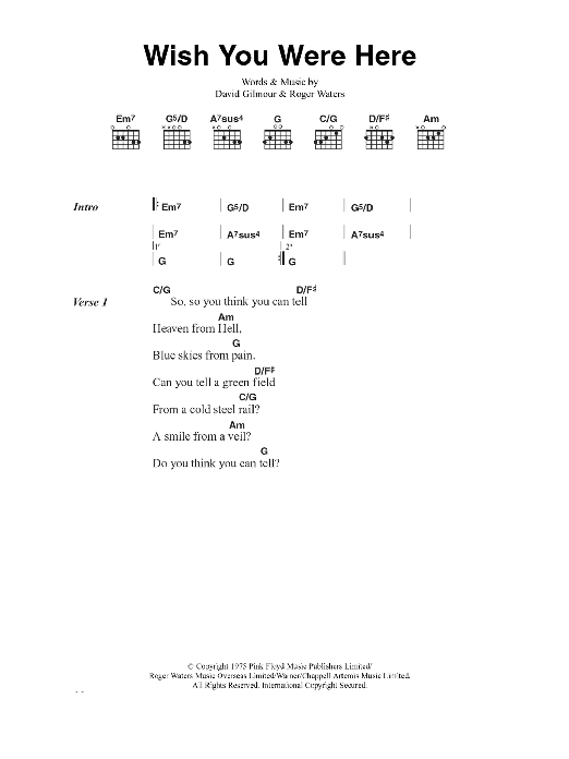 Guitar guitar tabs wish you were here : Wish You Were Here | Sheet Music Direct