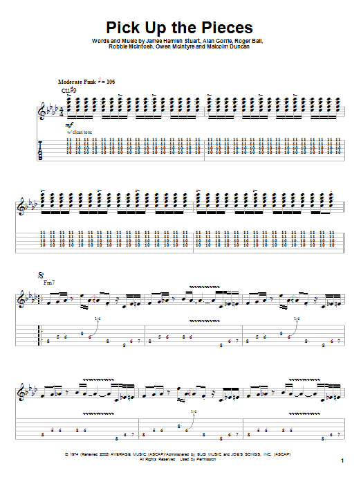 Tablature guitare Pick Up The Pieces de Average White Band - Tablature Guitare