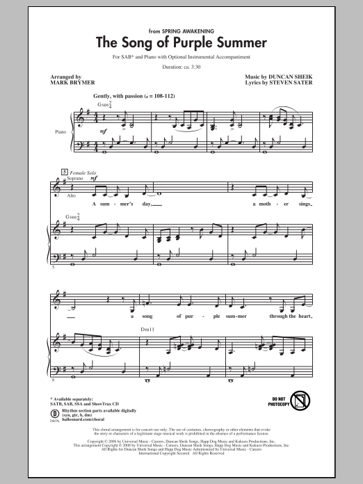 The Song Of Purple Summer (arr. Mark Brymer) Sheet Music