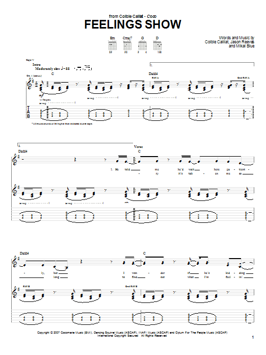 Tablature guitare Feelings Show de Colbie Caillat - Tablature Guitare