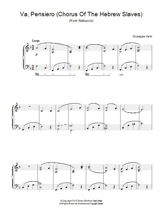 Va, Pensiero (Chorus Of The Hebrew Slaves) (from Nabucco) Sheet Music
