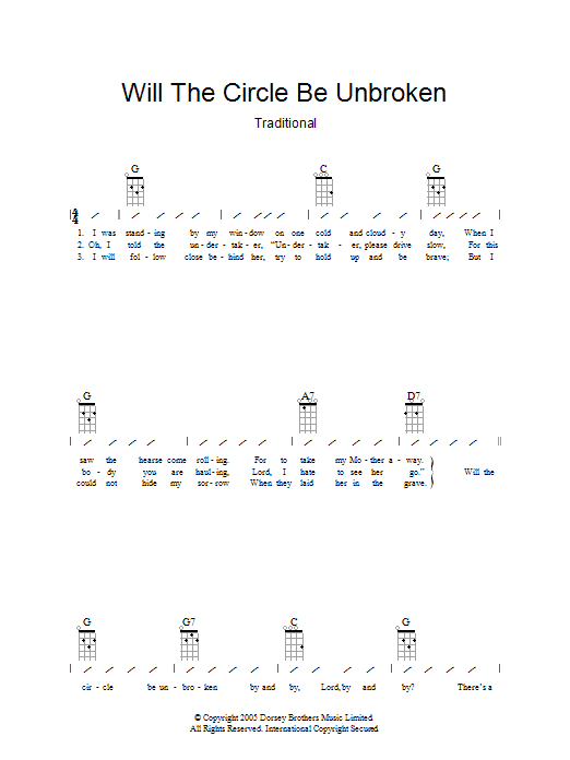 Will The Circle Be Unbroken by Traditional - Guitar Chords/Lyrics ...