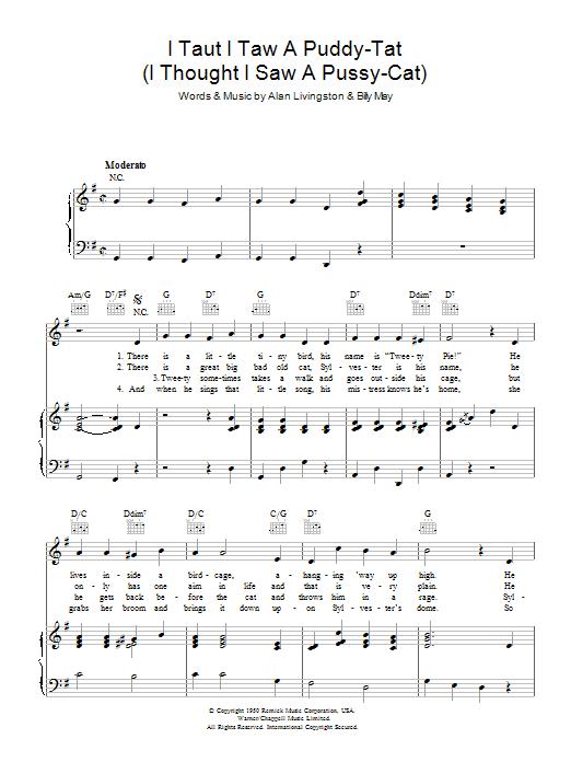 I Taut I Taw A Puddy Tat (Piano, Vocal & Guitar)