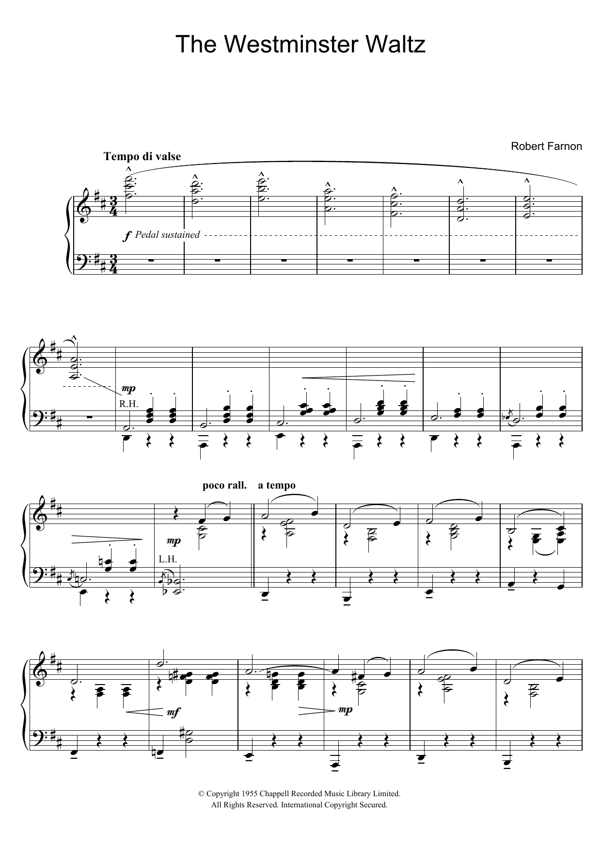 The Westminster Waltz (Piano Solo)