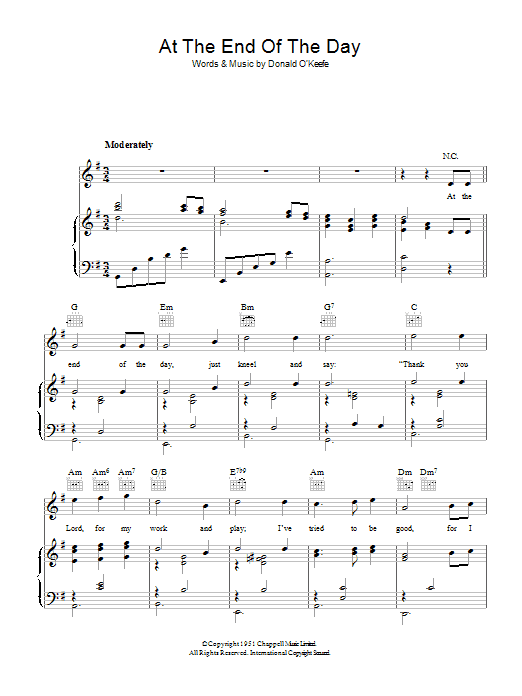At The End Of The Day Sheet Music