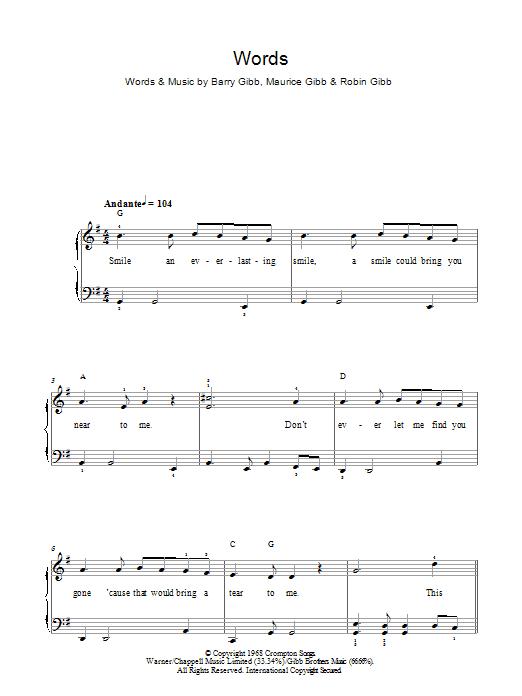 Words Sheet Music