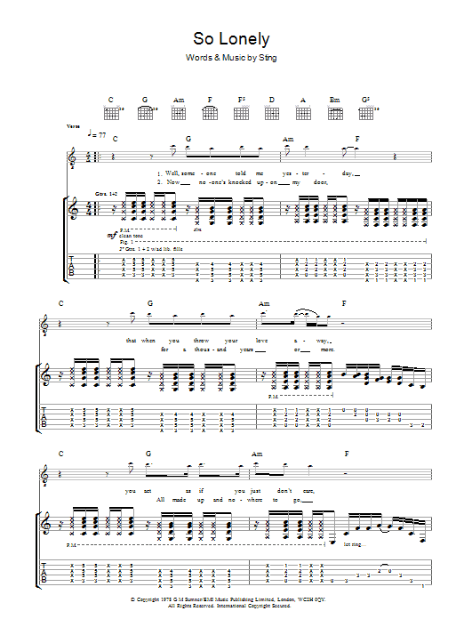So Lonely (Guitar Tab)