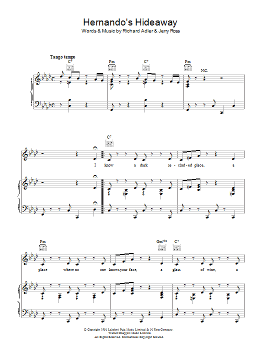 Hernando's Hideaway (Piano, Vocal & Guitar)