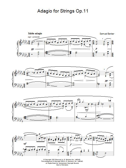 Adagio For Strings Op.11 (Piano Solo)