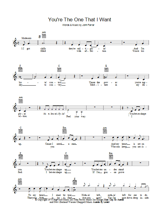 Youre The One That I Want From Grease Sheet Music Olivia Newton