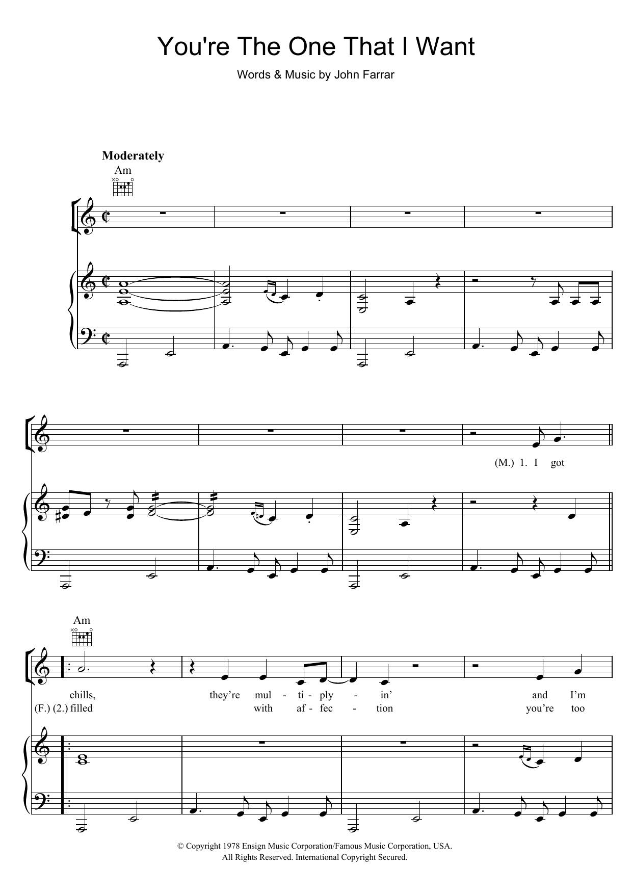 Youre the one that i want from grease sheet music direct sheet preview hexwebz Image collections