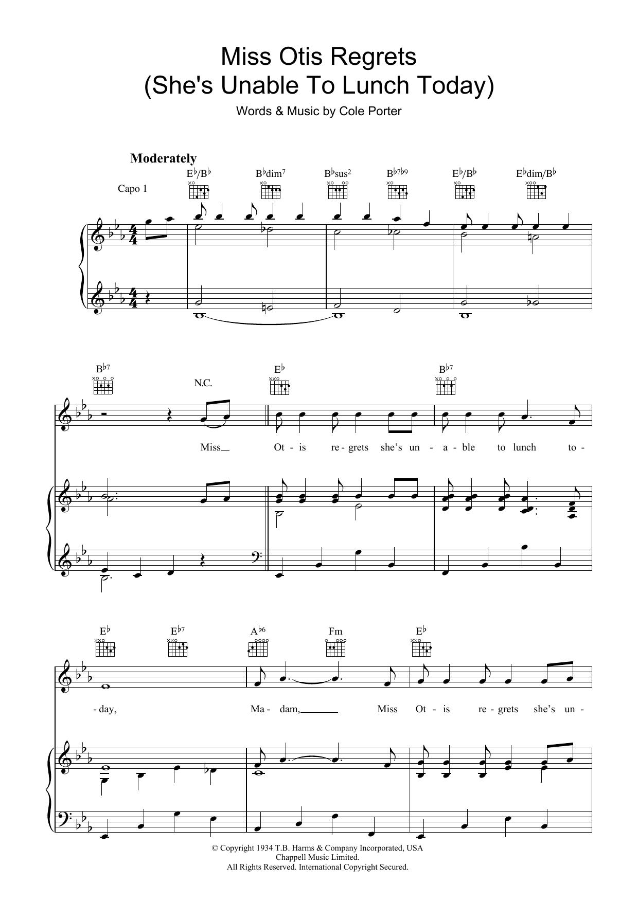 Miss Otis Regrets (Piano, Vocal & Guitar)