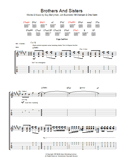 Brothers And Sisters (Guitar Tab)