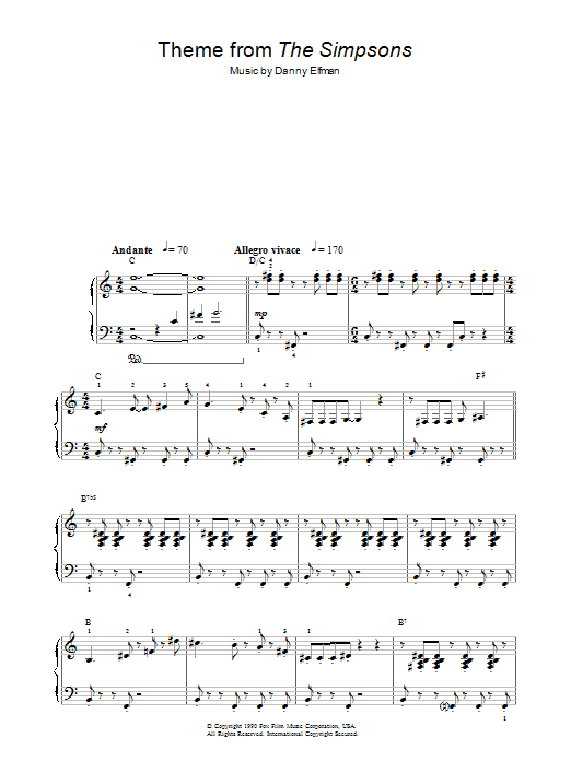 Theme From The Simpsons (Easy Piano)