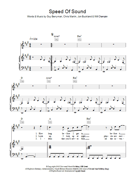 Speed Of Sound (Piano, Vocal & Guitar)