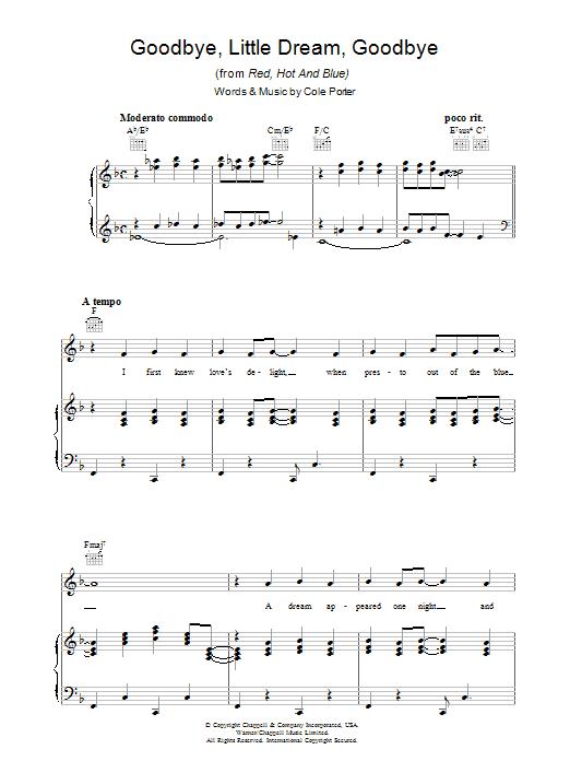 Goodbye Little Dream (Piano, Vocal & Guitar)