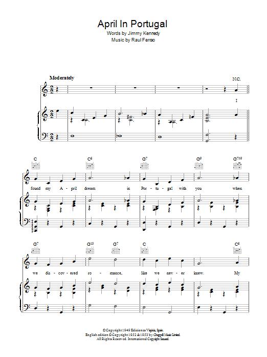 April In Portugal (Piano, Vocal & Guitar)
