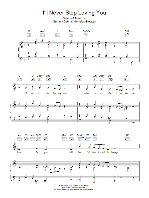 I'll Never Stop Loving You Sheet Music