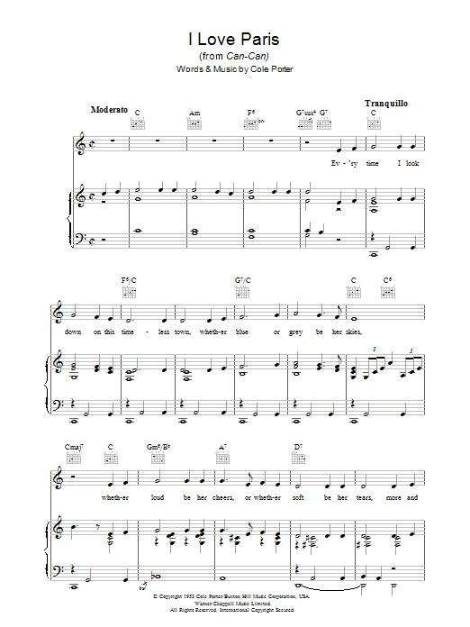 I Love Paris (Piano, Vocal & Guitar)