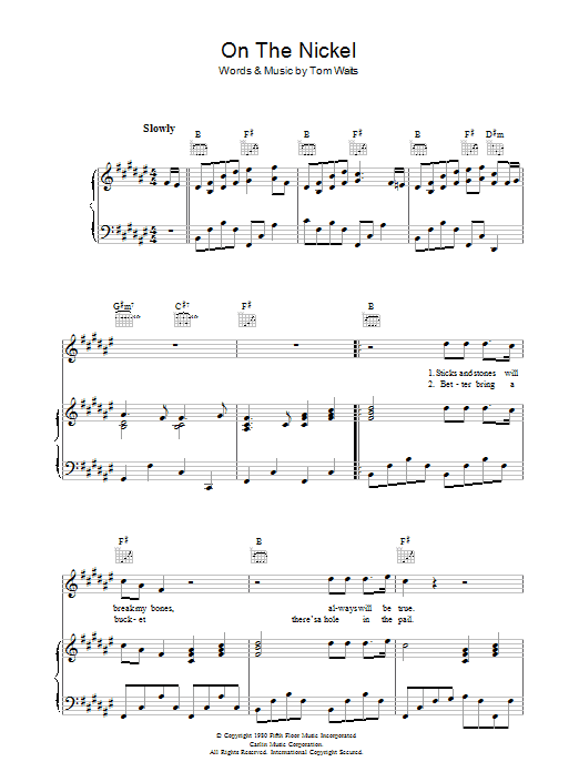 On The Nickel (Piano, Vocal & Guitar)