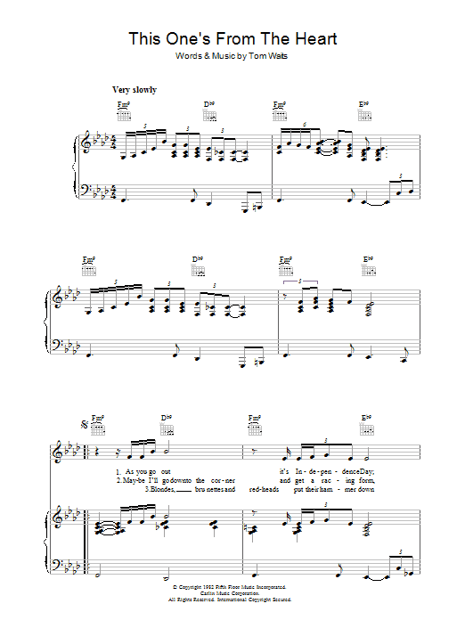 This One's From The Heart (Piano, Vocal & Guitar)