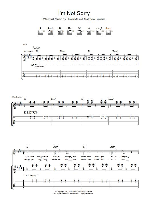 I'm Not Sorry (Guitar Tab)