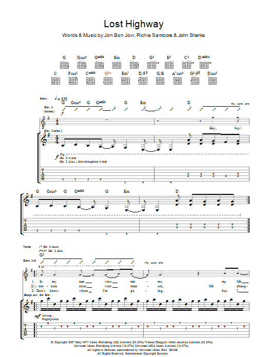 Lost Highway By Bon Jovi Guitar Tab Guitar Instructor