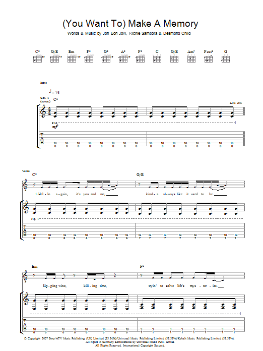 wanted dead or alive sheet music pdf