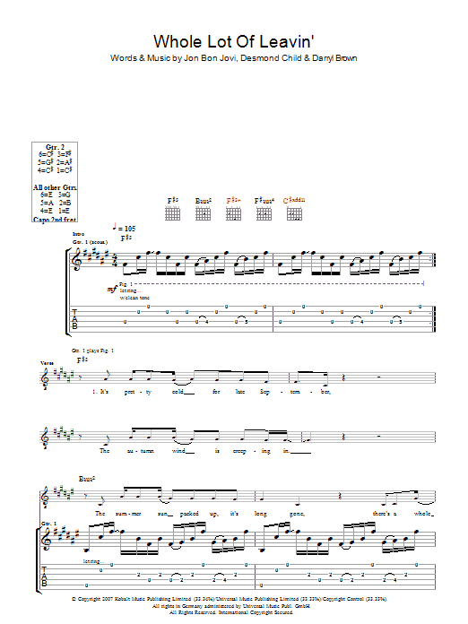 Whole Lot Of Leavin' (Guitar Tab)