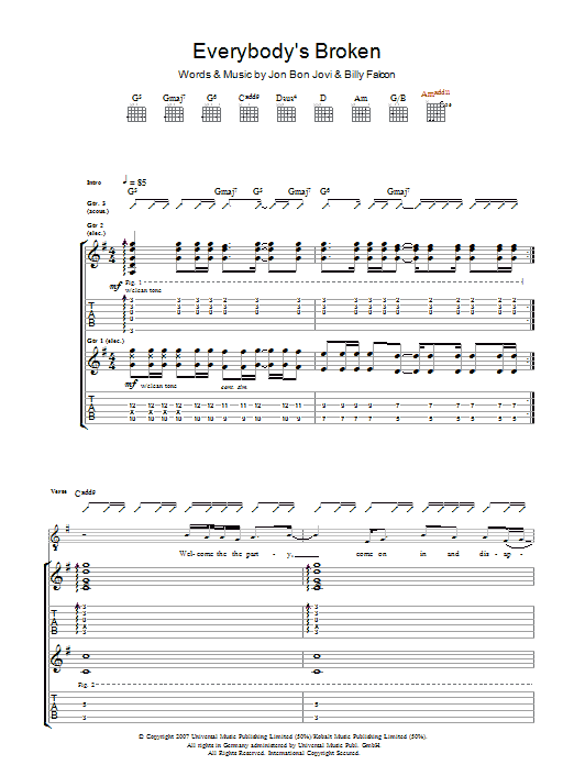 Everybody's Broken (Guitar Tab)