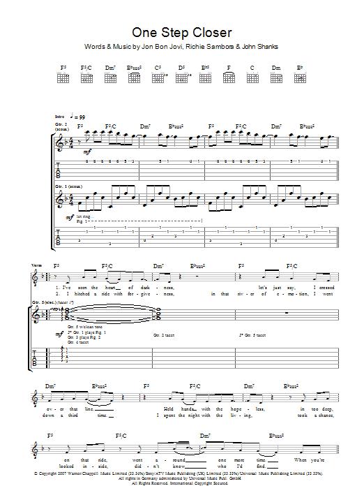 One Step Closer (Guitar Tab)
