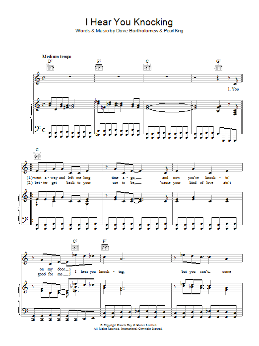 I Hear You Knocking (Piano, Vocal & Guitar)