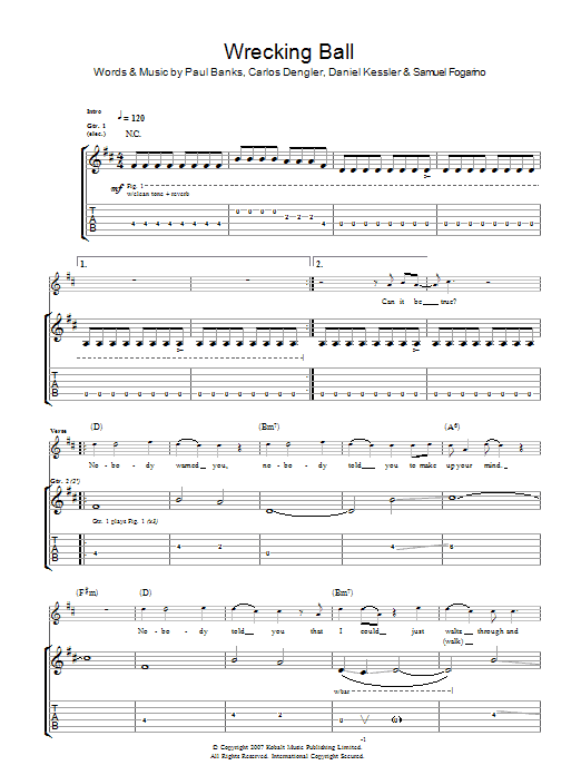 Wrecking Ball | Interpol | Guitar Tab