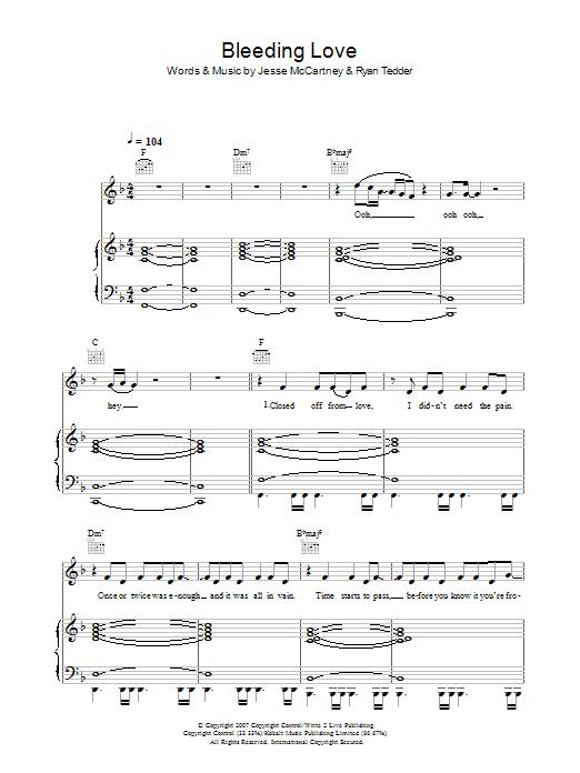 Bleeding Love (Piano, Vocal & Guitar)
