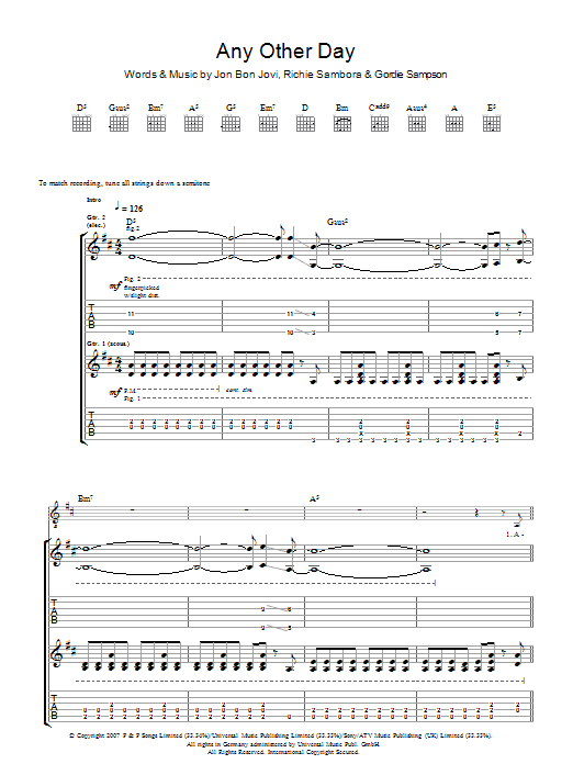 Any Other Day Sheet Music