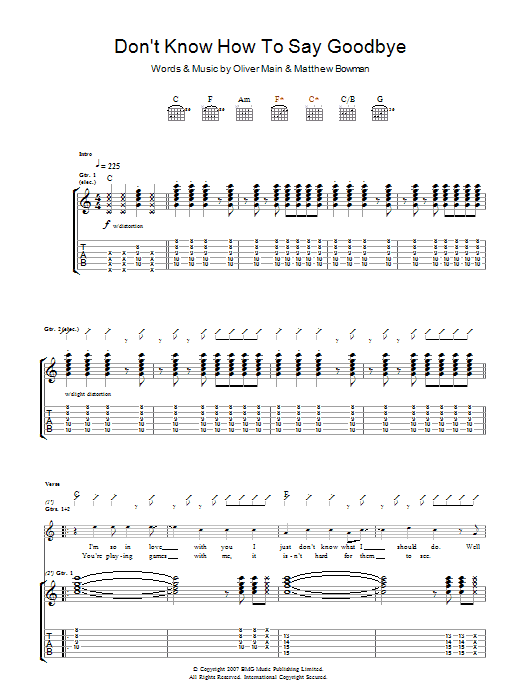 Don't Know How To Say Goodbye Sheet Music